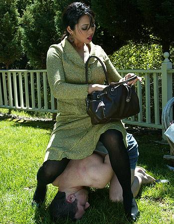 Outdoor pantyhose femdom